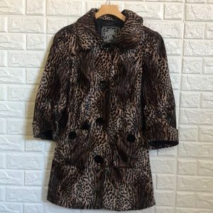 Guess animal print faux fur trench coat